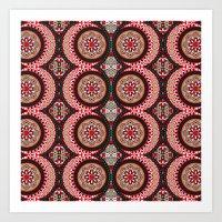 Red & Black Boho Moon Pattern Art Print