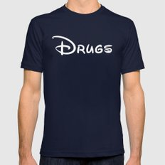 Drugs Disney Mens Fitted Tee Navy SMALL
