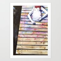 on the jetty, in the sun, her mind was elsewhere Art Print