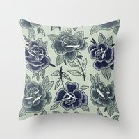 Dozen Roses - Blue Throw Pillow