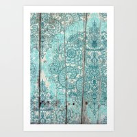 Teal & Aqua Botanical Doodle on Weathered Wood Art Print