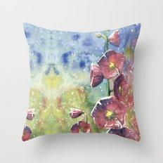 Hollyhocks - Pink Flowers Throw Pillow