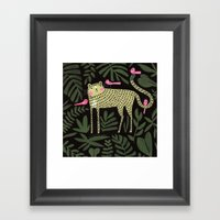 TIGER WITH PINK BIRDS Framed Art Print