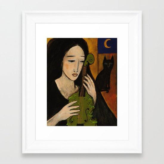 The green violin Framed Art Print