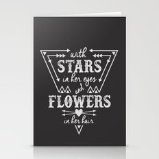 Stars in Her Eyes Flowers in Her Hair Stationery Cards