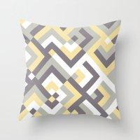 Yellow & Khaki Throw Pillow