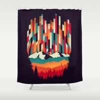 Sunset in Vertical Multicolor Shower Curtain