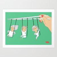 Swing Chopsticks Art Print