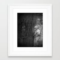 The old man and the monkey Framed Art Print