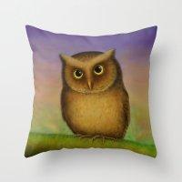 Mountain Scops Owl Throw Pillow