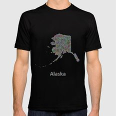 Alaska Map Mens Fitted Tee Black SMALL