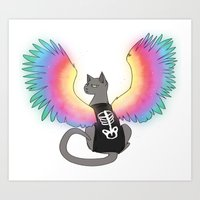 Magical Rainbow Cat Art Print