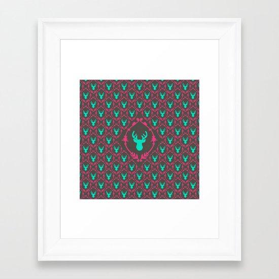 Oh Deer (teal dark) Framed Art Print