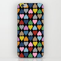 Diamond Hearts On Black iPhone & iPod Skin