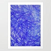 Ophelia Blue Scribble Art Print