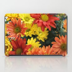Red, yellow and orange colorful autumn daisy flowers. floral photography. iPad Case