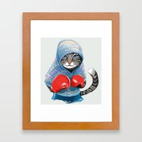 Boxing Cat Framed Art Print