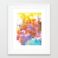 OFF THE GRID 3 Colorful Pastel Neon Purple Rust Yellow Abstract Watercolor Acrylic Textural Painting Framed Art Print