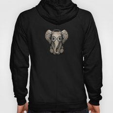 Cute Baby Elephant Dj Wearing Headphones and Glasses on Blue Hoody