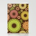 Folk flowers and leaves in brown Stationery Cards
