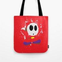 Red Shy Guy Splattery Design Tote Bag