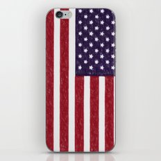 United states national flag - the Crayon and colored pencils version iPhone & iPod Skin
