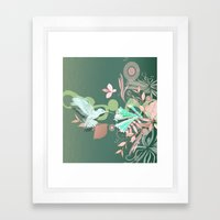 Hummingbird leaf tangle, green pale pink Framed Art Print