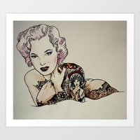 Sucide Girl Monroe Art Print