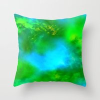 Cosmic Clouds In Green and Blue Throw Pillow