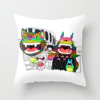 Totoro Fan Art (cat Bus)… Throw Pillow