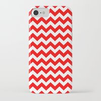 chevron iPhone & iPod Cases featuring Chevron (Red/White) by 10813 Apparel