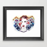 Technicolor Flower Portrait Framed Art Print