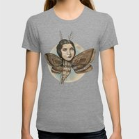 MOTH LADY Womens Fitted Tee Tri-Grey SMALL