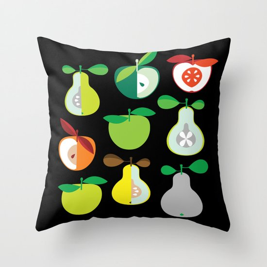 Apples and Pears / Geometrical 50s pattern of apples and pears Throw Pillow