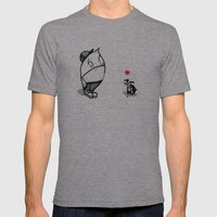 pouty face loves his dog Mens Fitted Tee Athletic Grey SMALL