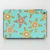 starfish flowers blue iPad Case