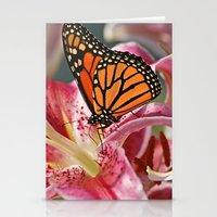 Monarch Butterfly on a Stargazer Lily Stationery Cards