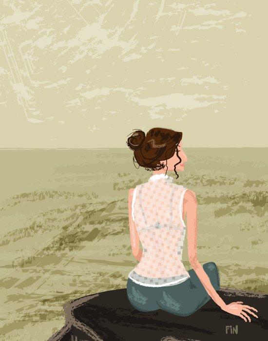 Girl by the Sea Art Print