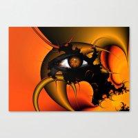 Orange Fractal Eye Canvas Print