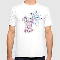 Playful Elephant Mens Fitted Tee White SMALL