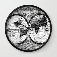 World Map Black And Whit… Wall Clock