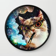 Wall Clock featuring High Cat by Eugenia Loli