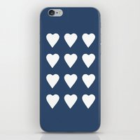 16 Hearts White On Navy iPhone & iPod Skin