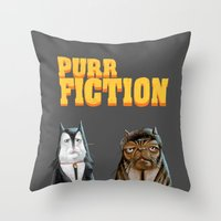 Purr Fiction Throw Pillow