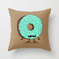 The Mustache Donut Throw Pillow
