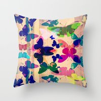 Butterflies on board Throw Pillow