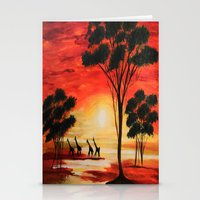 African Sunset Stationery Cards