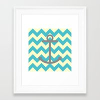 Chevron Anchor Framed Art Print