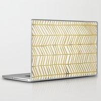 geometric Laptop & iPad Skins featuring Gold Herringbone by Cat Coquillette