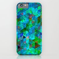 iPhone & iPod Case featuring Colored Triangles Green / Blue by Stuff.